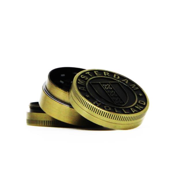 Amsterdam XXX shield gold small metal grinder 40mm – 3 parts