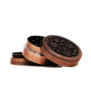 Amsterdam mini leafs bronze small metal grinder 40mm – 3 parts