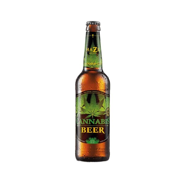 AWARD WINNING AMSTERDAM GREEN LEAF CANNABIS BEER BLENDED WITH HEMP BLOSSOMS