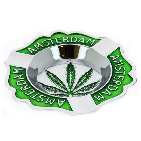 Amsterdam Quality Weed Leaf Silver Metal Ashtray