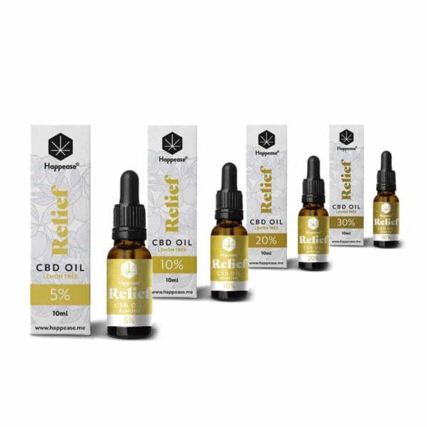 Óleo de CBD Happease Refief 5%, 10%, 20%, 30% CBD Oil Lemon Tree