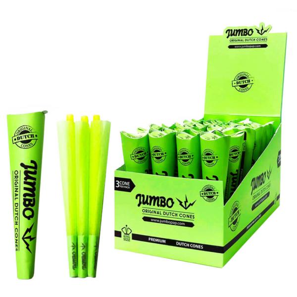 Jumbo King Size Green Cones 3 Cones Per Pack