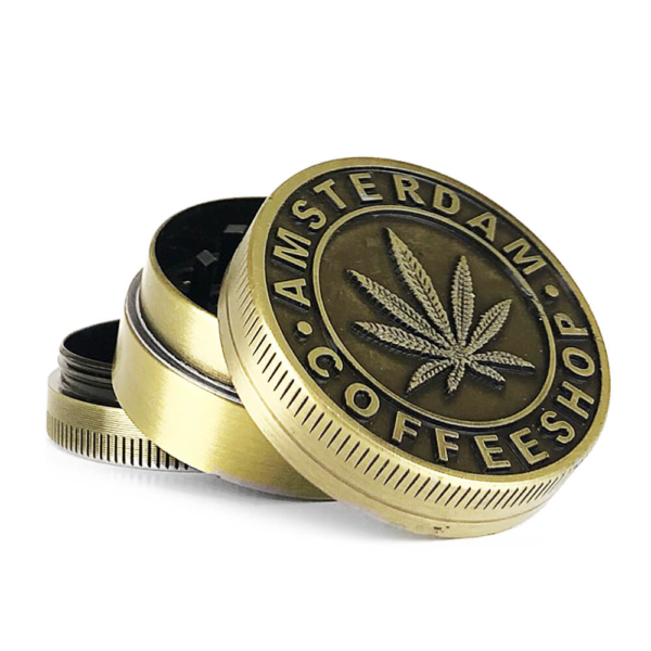 Metal Grinder Gold Leaf Coffeeshop 3 Parts – 40mm
