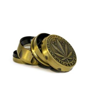 Weed leaf metal grinder gold