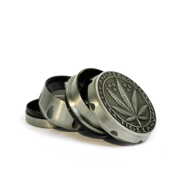 Weed leaf metal grinder silver