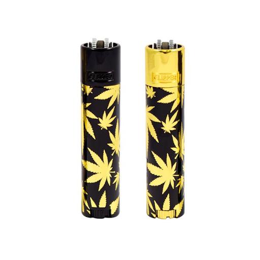 Clipper Metal Lighter Leaves Gold BLACK