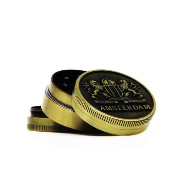 AMSTERDAM LIONS GOLD SMALL METAL GRINDER 40MM - 3 PARTS