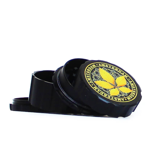 CANADIAN WEED LEAVES BLACK METAL MAGNETIC GRINDER MIX 55mm - 4 PARTS YELLOW