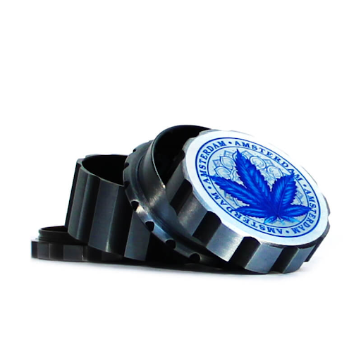 CANADIAN WEED LEAVES SILVER METAL MAGNETIC GRINDER MIX 55MM-4 PARTS Blue
