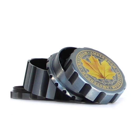 CANADIAN WEED LEAVES SILVER METAL MAGNETIC GRINDER MIX 55MM-4 PARTS yellow