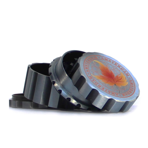 CANADIAN WEED LEAVES SILVER METAL MAGNETIC GRINDER MIX 55MM-4 PARTS orange