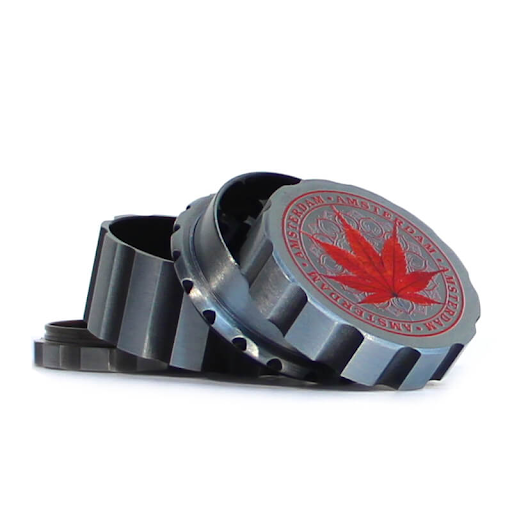 CANADIAN WEED LEAVES SILVER METAL MAGNETIC GRINDER MIX 55MM-4 PARTS red