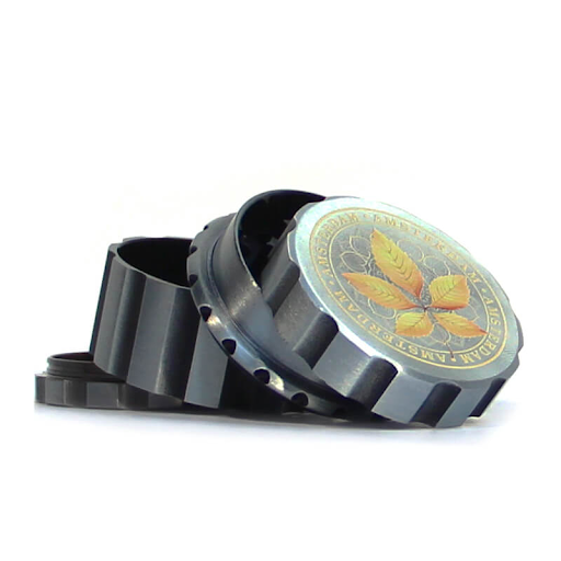 CANADIAN WEED LEAVES SILVER METAL MAGNETIC GRINDER MIX 55MM-4 PARTS CANARY