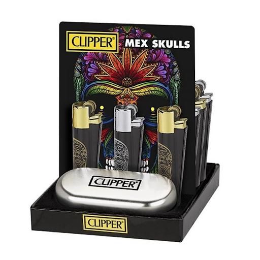 CLIPPER MEX SKULLS METAL LIGHTERS