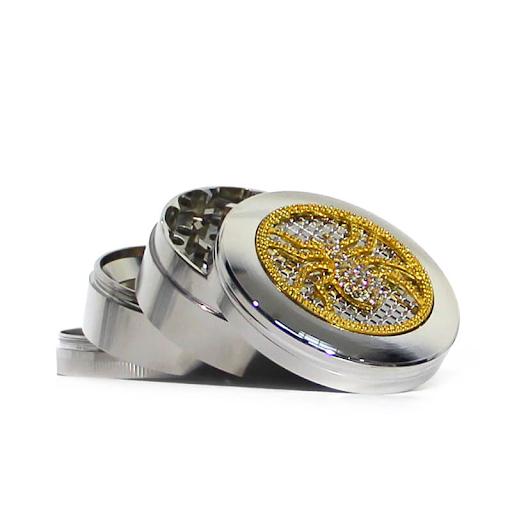 COLORFUL MIX DIAMOND METAL GRINDERS 63MM- 4 PARTS GREY