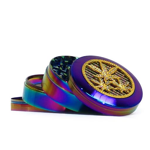 RAINBOW MIX DIAMOND METAL GRINDERS 63MM - 4 PARTS cannabis