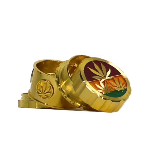 RASTA LEAVES GOLD MAGNETIC METAL GRINDER 45MM- 4 PARTS
