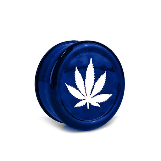WEED LEAF PLASTIC GRINDER BLUE - 3 PARTS 50MM