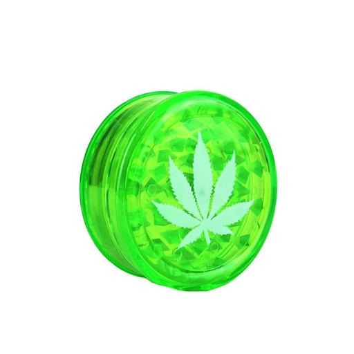 WEED LEAF PLASTIC GRINDER GREEN - 3 PARTS 50MM 2