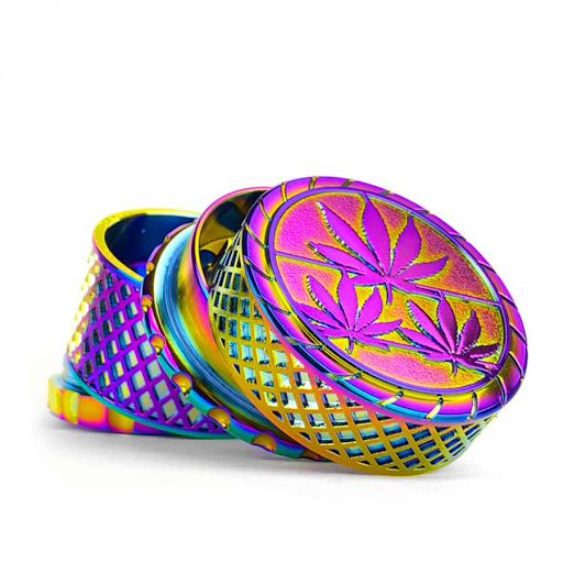 METAL GRINDER WAFFEL RAINBOW LEAVES FULLY MAGNETIC 4 PARTS - 40 MM