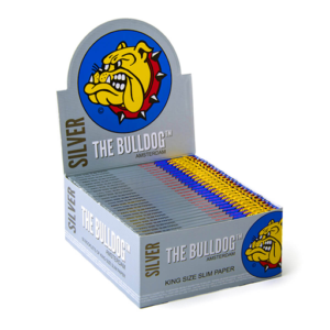 THE BULLDOG ORIGINAL SILVER KING SIZE SLIM ROLLING PAPERS